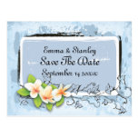 Vintage plumeria ivy blue white Save the Date Postcards