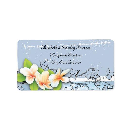 Vintage plumeria ivy blue white wedding label