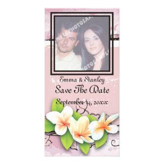 Vintage plumeria ivy pink white Save the Date Custom Photo Card