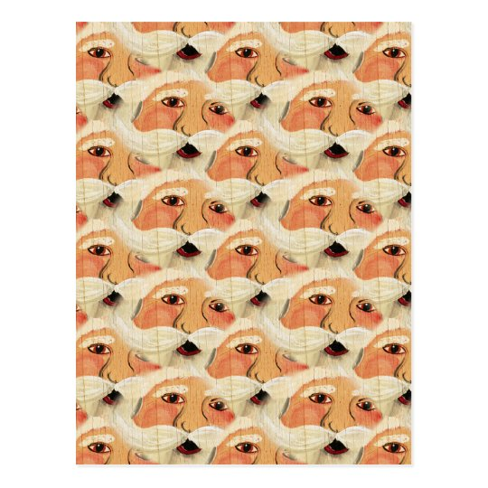 Vintage Plywood Santa Face Wallpaper Pattern Postcard