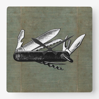 Vintage Pocket Knife Art Square Wall Clock