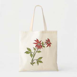 Vintage Poinsettia Christmas Party Favor Gift Tote Bags