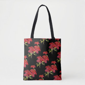 Vintage Poinsettia Flower All-Over-Print Tote Bag