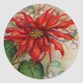 Vintage Poinsettia Flower Christmas Sticker