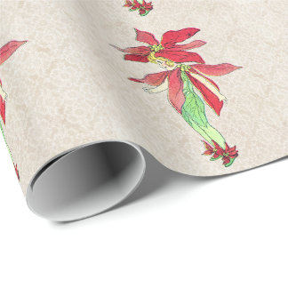 vintage poinsettia flower fairy wrapping paper