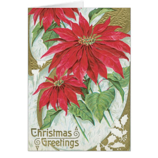 Vintage Poinsettia Illustration Card