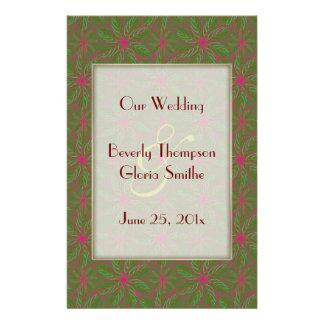 Vintage Poinsettia Pattern WEDDING Program 14 Cm X 21.5 Cm Flyer
