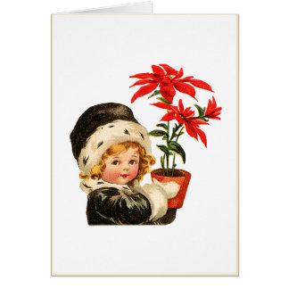 Vintage Poinsettias Card