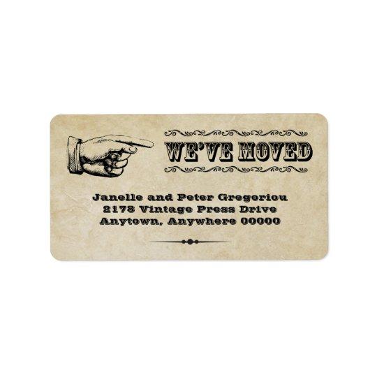 Vintage Pointer Moving Announcement  Label Address Label