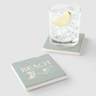 Vintage Pointing Beach Sign Stone Coaster
