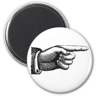 vintage pointing finger magnet, housewarming 6 cm round magnet