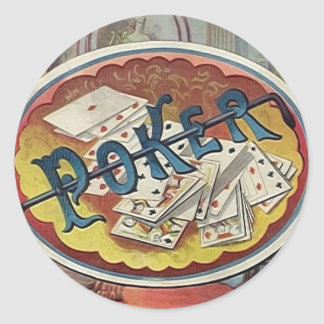 Vintage Poker Mens Smoking Room Gambling Round Sticker