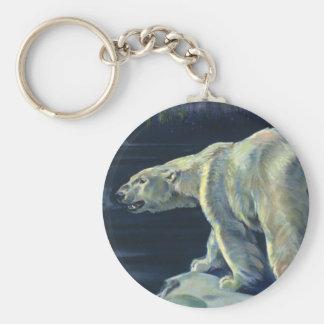 Vintage Polar Bear, Arctic Marine Life Animals Basic Round Button Key Ring
