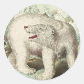 Vintage Polar Bear Art Round Sticker