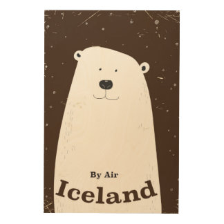 Vintage Polar Bear Iceland travel poster