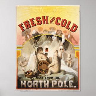 Vintage Polar Bears,Lager Beer Advertisement Print