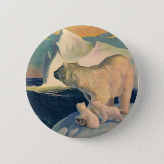 Vintage Polar Bears on Iceberg, Wild Arctic Animal 6 Cm Round Badge
