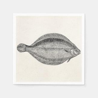 Vintage Pole Flounder Fish Personalized Template Disposable Serviettes