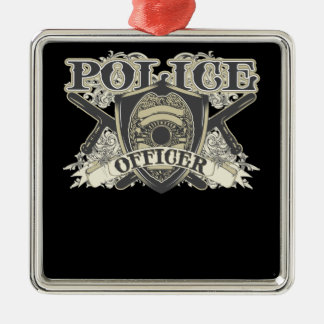 Vintage Police Officer Silver-Colored Square Decoration