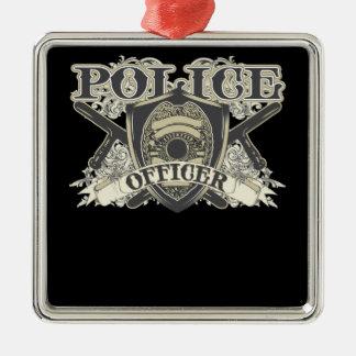 Vintage Police Officer Square Metal Christmas Ornament