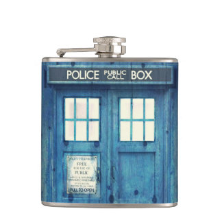 Vintage Police phone Public Call Box Hip Flask