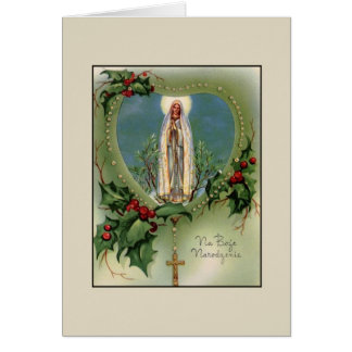 Vintage Polish Blessed Mother Christmas Card
