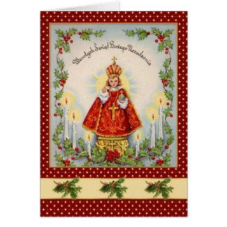 Vintage Polish Christmas with king & holly Card
