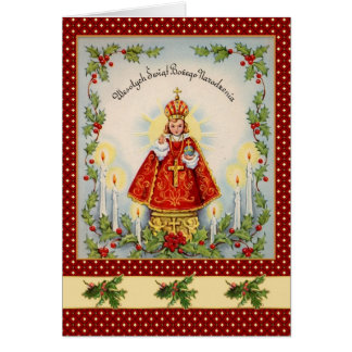 Vintage Polish Christmas with king & holly Greeting Card
