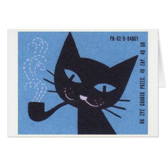 Vintage Polish Matchbox Label Cat Smoking Pipe Card