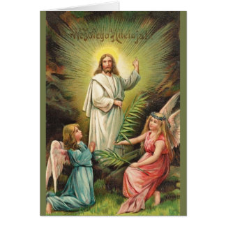 Vintage Polish Religious Risen Lord Easter Card