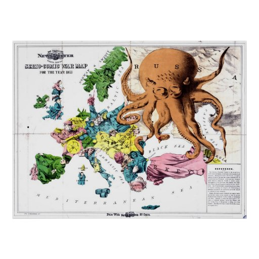 Vintage Political Cartoon Map of Europe (1877) Posters