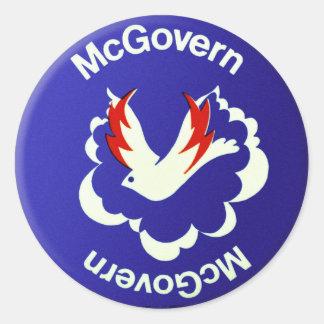 Vintage Politics McGovern For President Button Round Stickers