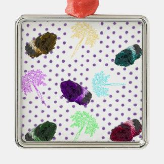 Vintage Polka Dot 80's Guinea pig Design Silver-Colored Square Decoration