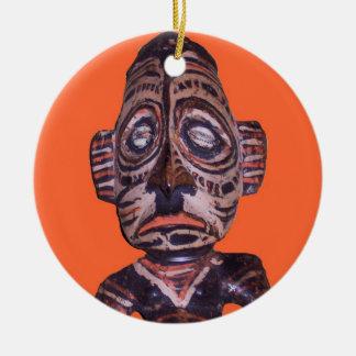 Vintage Polynesian Mask Round Ceramic Decoration