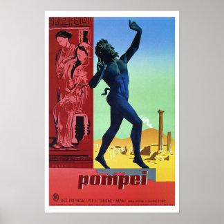 Vintage Pompeii Italian travel Poster
