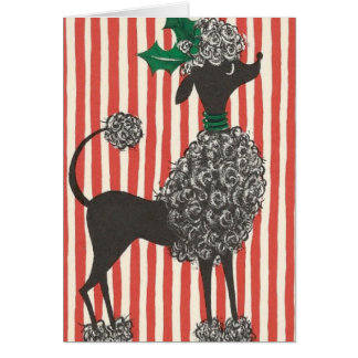 Vintage Poodle Holiday Card