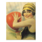 Vintage Pool Party Beach Invitation Flapper Cloche