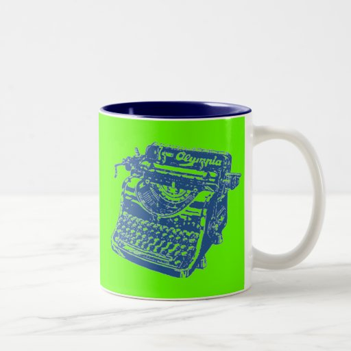 Vintage Pop Art Blue Typewriter Coffee Mug