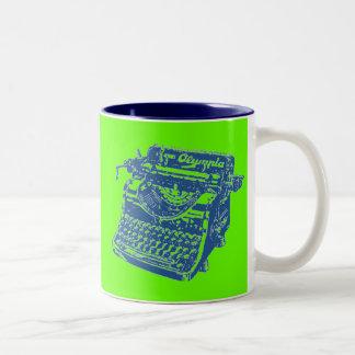 Vintage Pop Art Blue Typewriter Two-Tone Coffee Mug