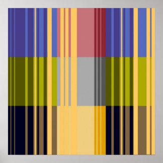 Vintage Pop Art Colorful Stripes Pattern Poster