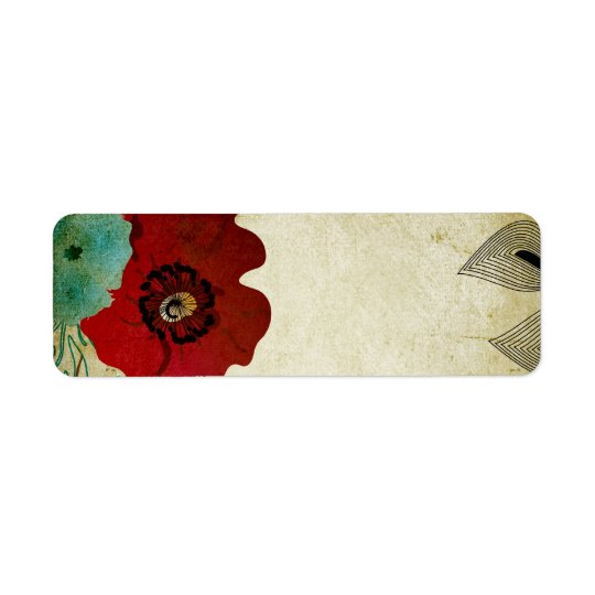Vintage poppies Avery Label