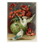 Vintage Poppies & Birds Postcard