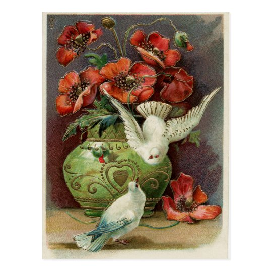 Vintage Poppies & Birds Postcard