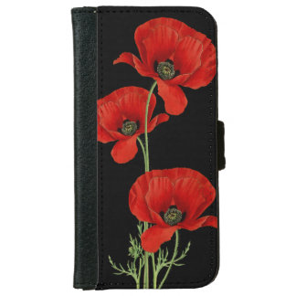 Vintage Poppies Botanical Floral iPhone 6 Wallet Case