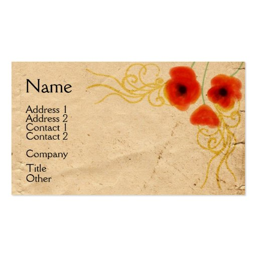 Collections of primitive business cards vintage poppies business card colourmoves