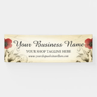 Vintage Poppies Ephemera Banner