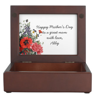Vintage Poppy and Foxglove Bouquet Memory Box