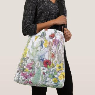 Vintage Poppy Iris Foxglove Crocus Flower Tote Bag