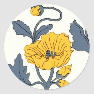 Vintage Poppy Poppies Flowers Tile Design Round Sticker