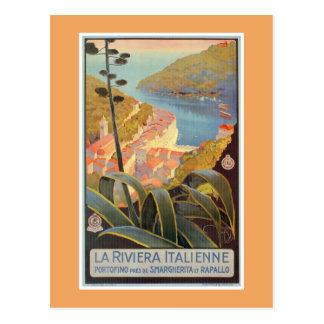 Vintage Portofino Italian Riviera travel poster Postcard
